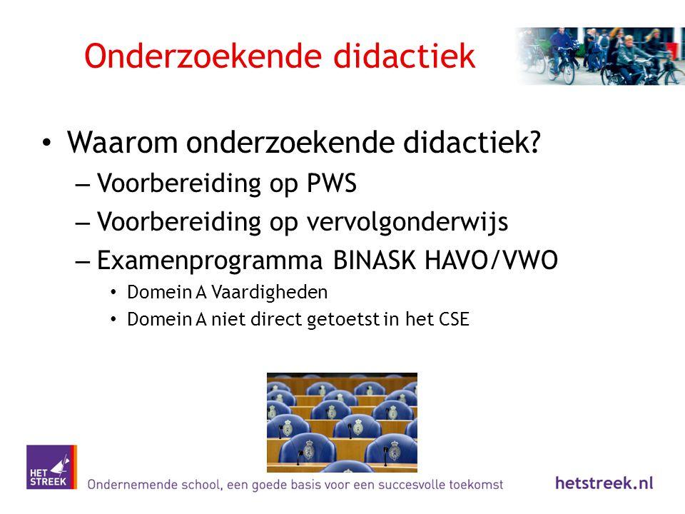 Onderzoekende didactiek Waarom onderzoekende didactiek? – Voorbereiding op PWS – Voorbereiding op vervolgonderwijs – Examenprogramma BINASK HAVO/VWO D
