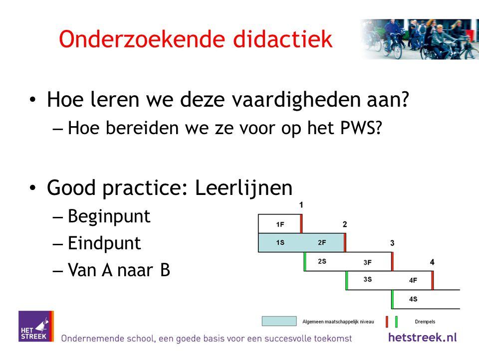 Onderzoekende didactiek Hoe leren we deze vaardigheden aan? – Hoe bereiden we ze voor op het PWS? Good practice: Leerlijnen – Beginpunt – Eindpunt – V