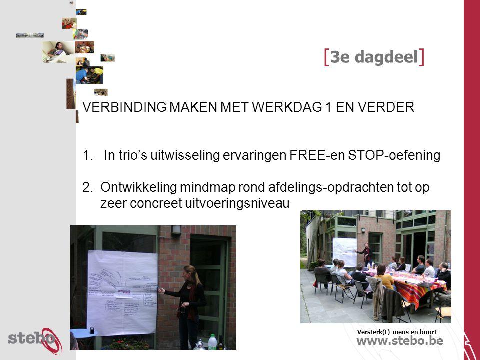 Versterk(t) mens en buurt www.stebo.be [ 3e dagdeel ] VERBINDING MAKEN MET WERKDAG 1 EN VERDER 1.