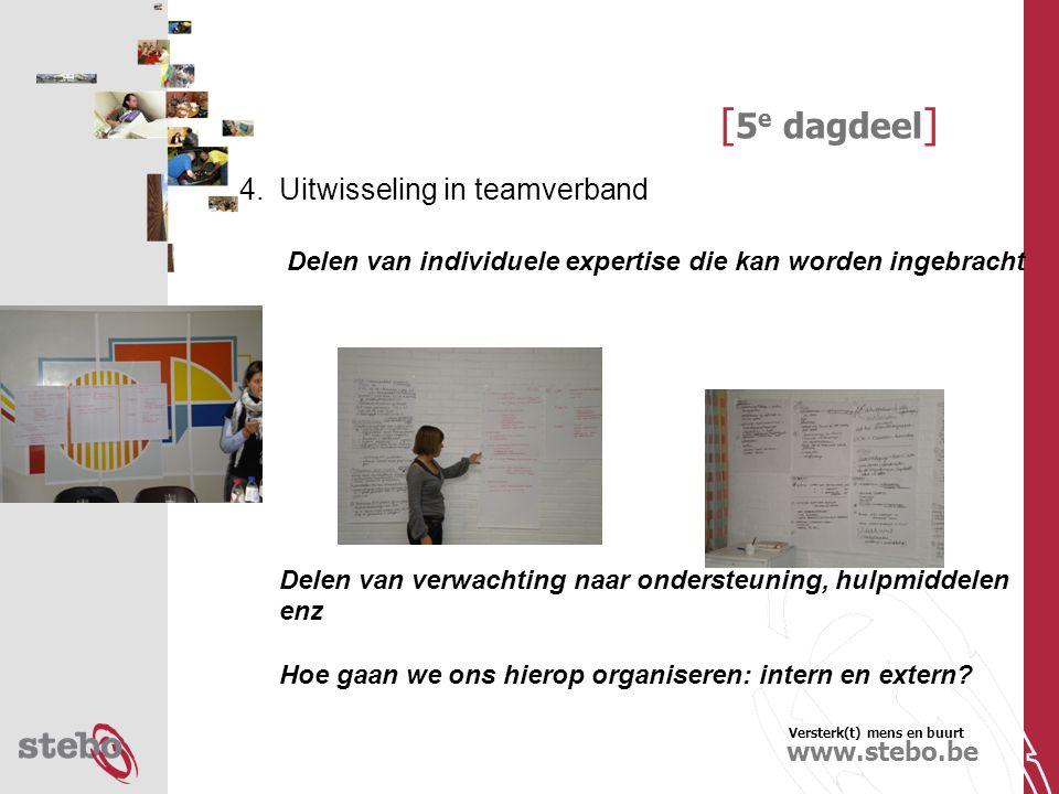 Versterk(t) mens en buurt www.stebo.be [ 5 e dagdeel ] 4.Uitwisseling in teamverband Delen van individuele expertise die kan worden ingebracht Delen van verwachting naar ondersteuning, hulpmiddelen enz Hoe gaan we ons hierop organiseren: intern en extern
