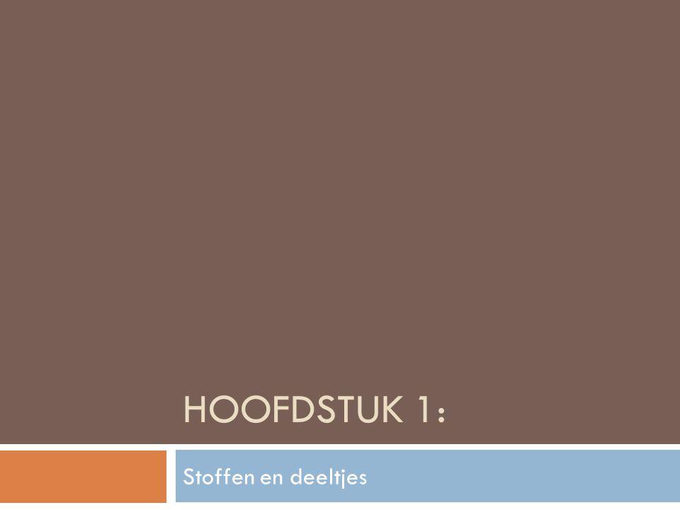HOOFDSTUK 1: Stoffen en deeltjes
