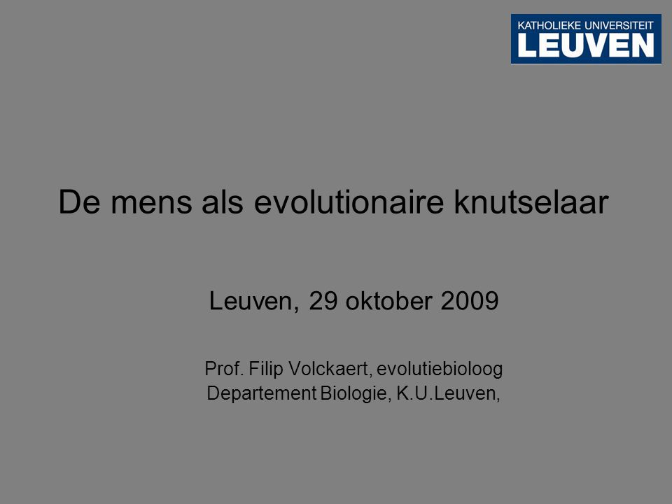Leuven, 29 oktober 2009 Prof.