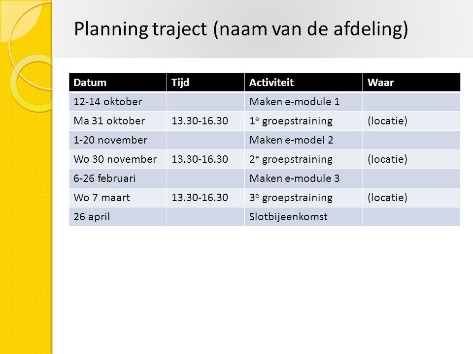 Planning traject (naam van de afdeling) DatumTijdActiviteitWaar 12-14 oktoberMaken e-module 1 Ma 31 oktober13.30-16.301 e groepstraining(locatie) 1-20