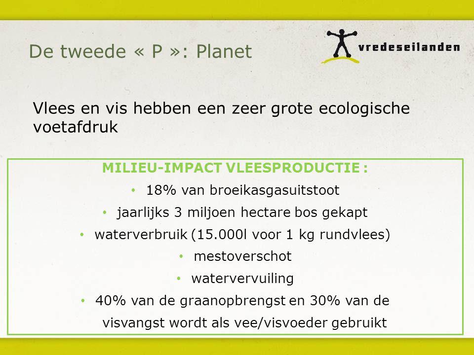 MILIEU-IMPACT VLEESPRODUCTIE : 18% van broeikasgasuitstoot jaarlijks 3 miljoen hectare bos gekapt waterverbruik (15.000l voor 1 kg rundvlees) mestoverschot watervervuiling 40% van de graanopbrengst en 30% van de visvangst wordt als vee/visvoeder gebruikt Vlees en vis hebben een zeer grote ecologische voetafdruk De tweede « P »: Planet