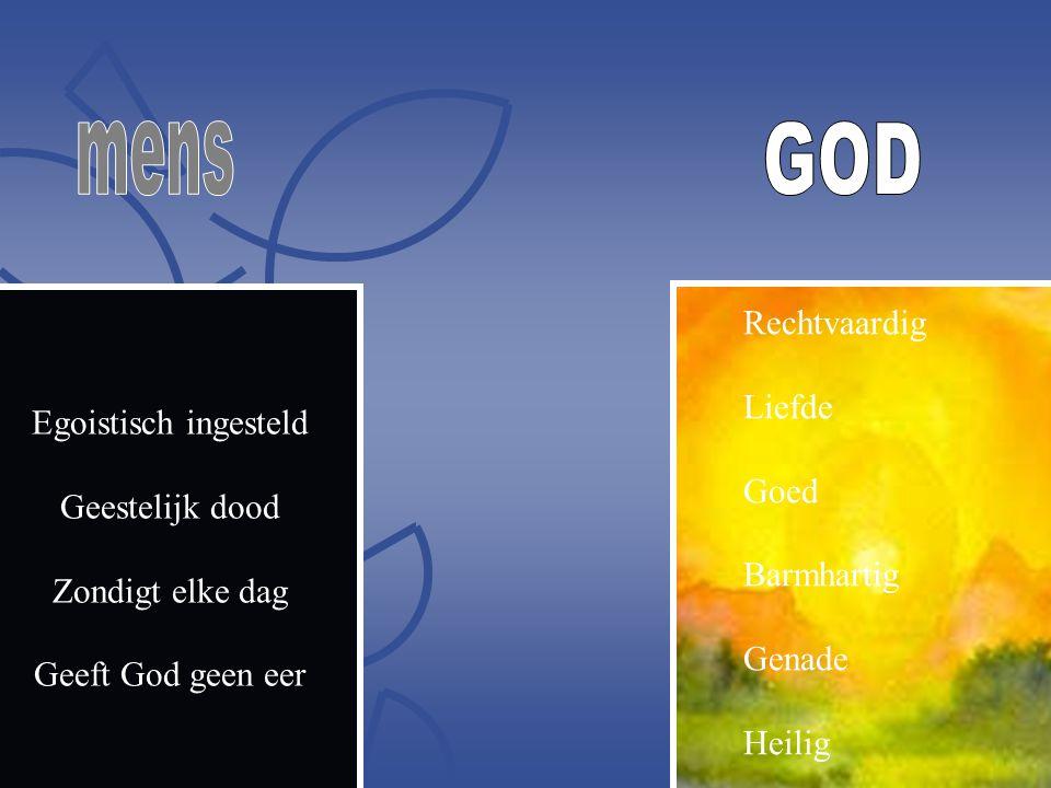 Egoistisch ingesteld Geestelijk dood Zondigt elke dag Geeft God geen eer Rechtvaardig Liefde Goed Barmhartig Genade Heilig