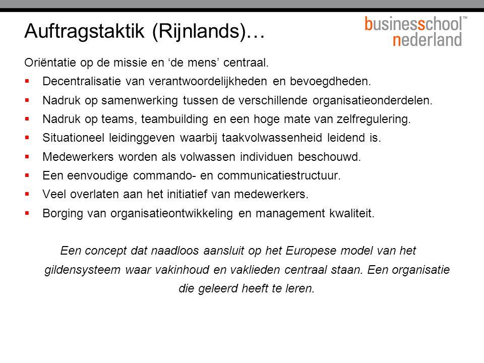 Auftragstaktik (Rijnlands)… Oriëntatie op de missie en 'de mens' centraal.  Decentralisatie van verantwoordelijkheden en bevoegdheden.  Nadruk op sa