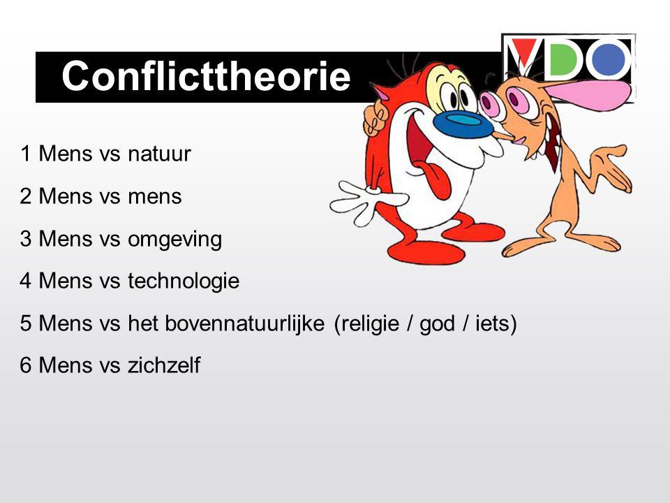 Conflicttheorie 1 Mens vs natuur 2 Mens vs mens 3 Mens vs omgeving 4 Mens vs technologie 5 Mens vs het bovennatuurlijke (religie / god / iets) 6 Mens vs zichzelf