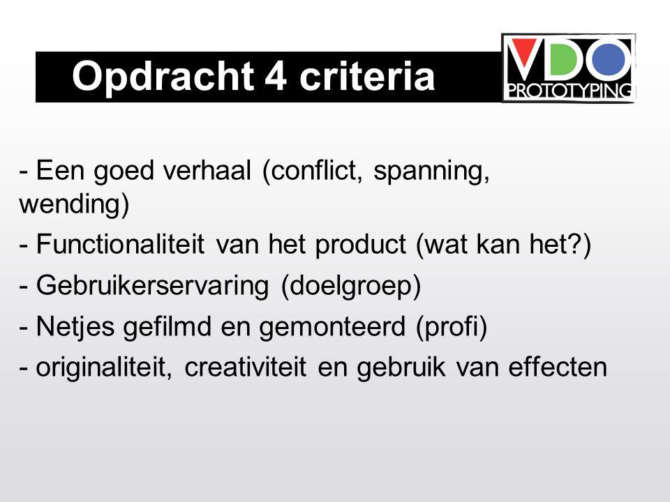 Opdracht 4 criteria - Een goed verhaal (conflict, spanning, wending) - Functionaliteit van het product (wat kan het ) - Gebruikerservaring (doelgroep) - Netjes gefilmd en gemonteerd (profi) - originaliteit, creativiteit en gebruik van effecten