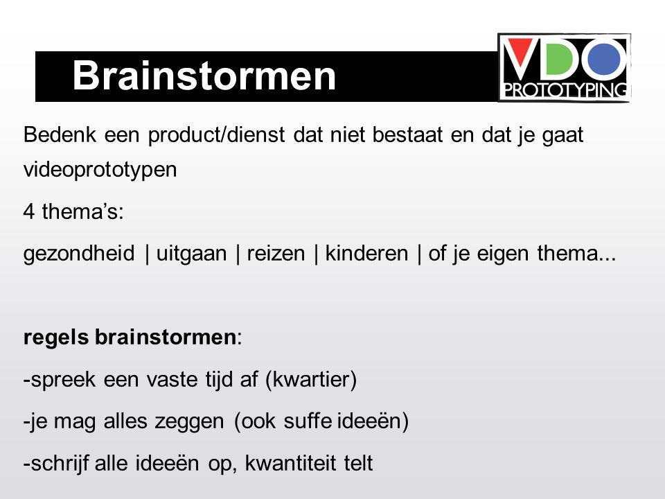 Brainstormen Bedenk een product/dienst dat niet bestaat en dat je gaat videoprototypen 4 thema's: gezondheid | uitgaan | reizen | kinderen | of je eigen thema...
