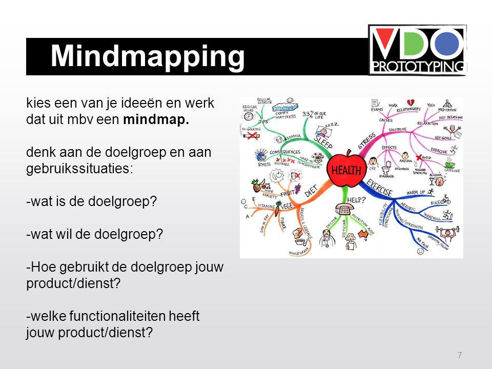 7 Mindmapping kies een van je ideeën en werk dat uit mbv een mindmap.
