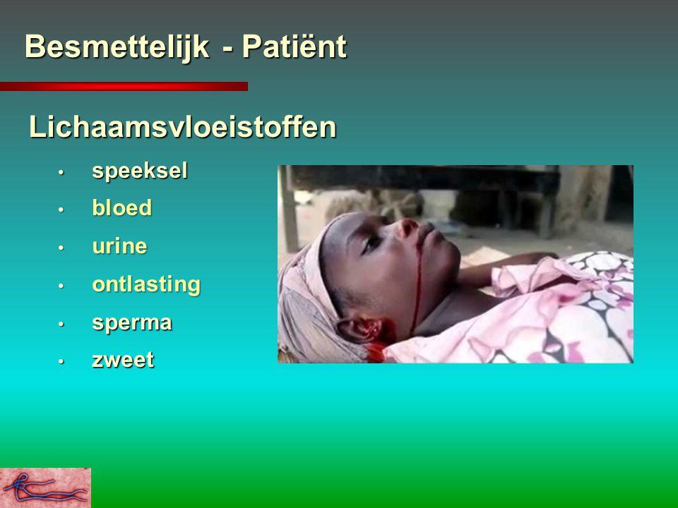 Besmettelijk - Patiënt Lichaamsvloeistoffen speeksel speeksel bloed bloed urine urine ontlasting ontlasting sperma sperma zweet zweet