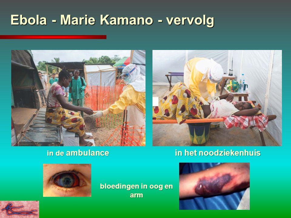 Ebola - Marie Kamano - vervolg in de ambulance in het noodziekenhuis bloedingen in oog en arm