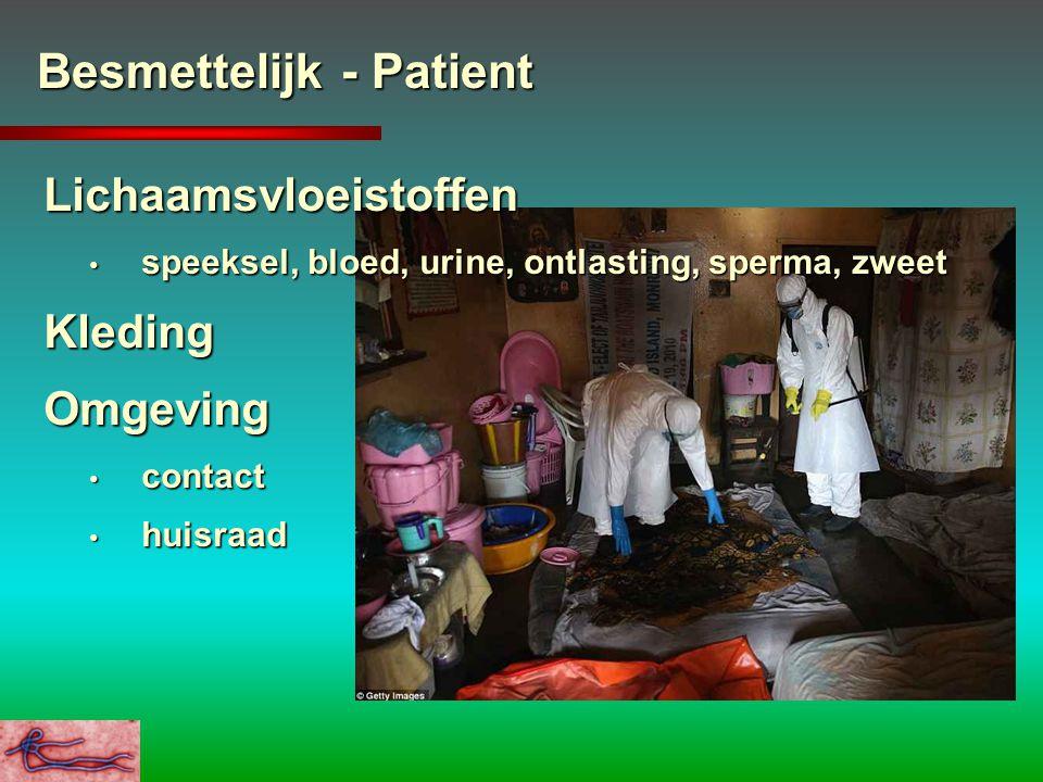 Besmettelijk - Patient Lichaamsvloeistoffen speeksel, bloed, urine, ontlasting, sperma, zweet speeksel, bloed, urine, ontlasting, sperma, zweetKleding