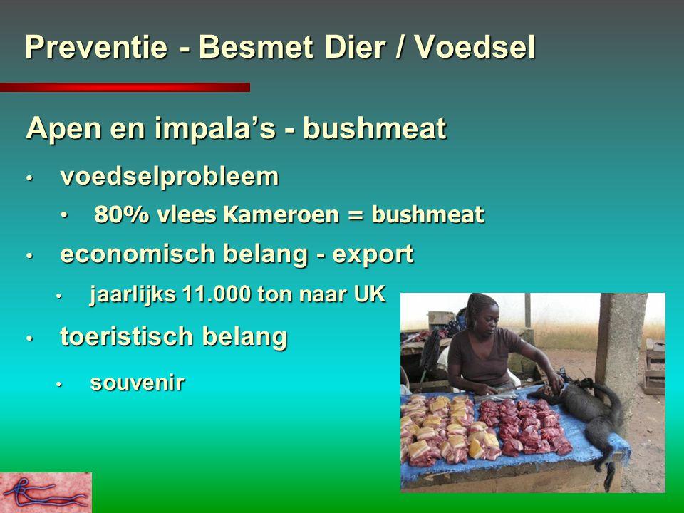 Preventie - Besmet Dier / Voedsel Apen en impala's - bushmeat voedselprobleem voedselprobleem 80% vlees Kameroen = bushmeat 80% vlees Kameroen = bushm