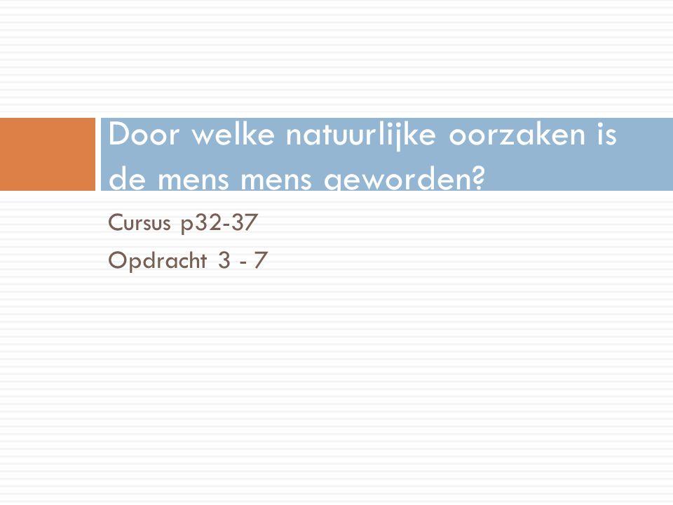 Cursus p32-37 Opdracht 3 - 7 Door welke natuurlijke oorzaken is de mens mens geworden?