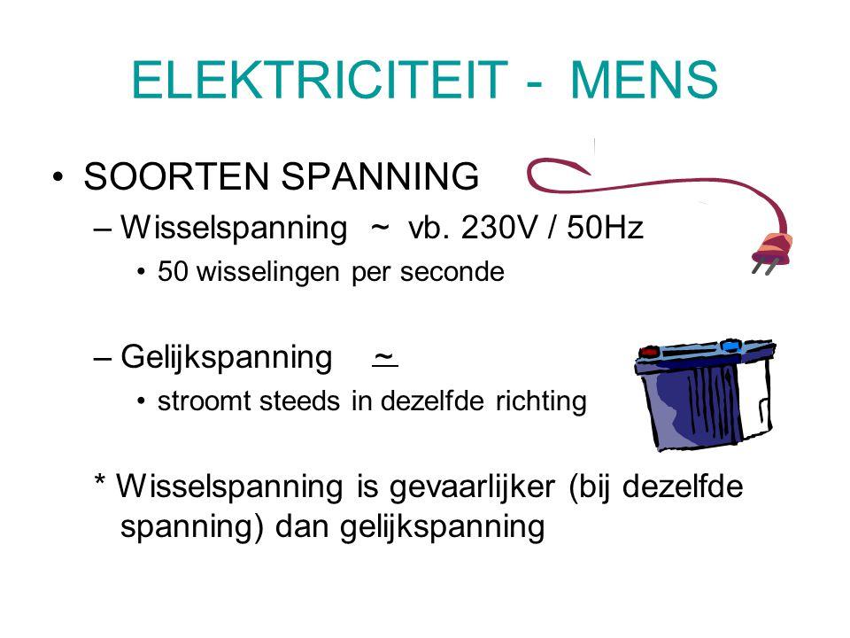 ELEKTRICITEIT - MENS SOORTEN SPANNING –Wisselspanning ~ vb. 230V / 50Hz 50 wisselingen per seconde –Gelijkspanning ~ stroomt steeds in dezelfde richti