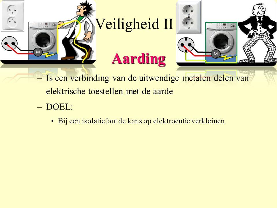 Aarding –Is een verbinding van de uitwendige metalen delen van elektrische toestellen met de aarde –DOEL: Bij een isolatiefout de kans op elektrocutie