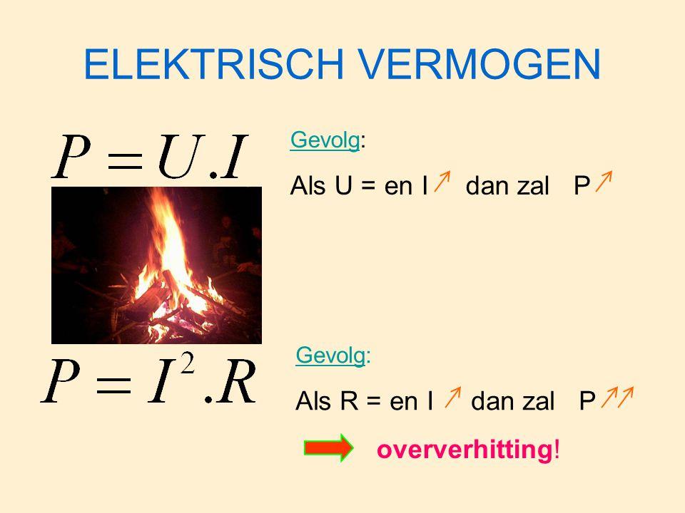 ELEKTRISCH VERMOGEN Gevolg: Als U = en I dan zal P Gevolg: Als R = en I dan zal P oververhitting!