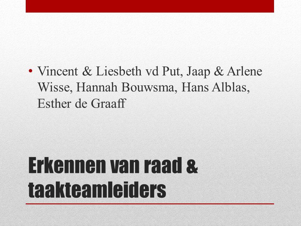 Erkennen van raad & taakteamleiders Vincent & Liesbeth vd Put, Jaap & Arlene Wisse, Hannah Bouwsma, Hans Alblas, Esther de Graaff