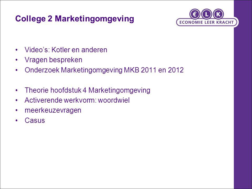 College 2 Marketingomgeving Video's: Kotler en anderen Vragen bespreken Onderzoek Marketingomgeving MKB 2011 en 2012 Theorie hoofdstuk 4 Marketingomge