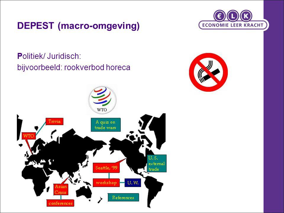 DEPEST (macro-omgeving) Politiek/ Juridisch: bijvoorbeeld: rookverbod horeca
