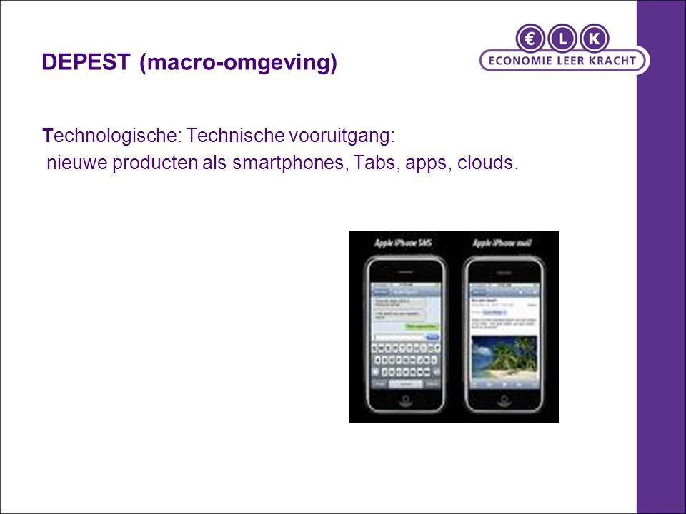 DEPEST (macro-omgeving) Technologische: Technische vooruitgang: nieuwe producten als smartphones, Tabs, apps, clouds.