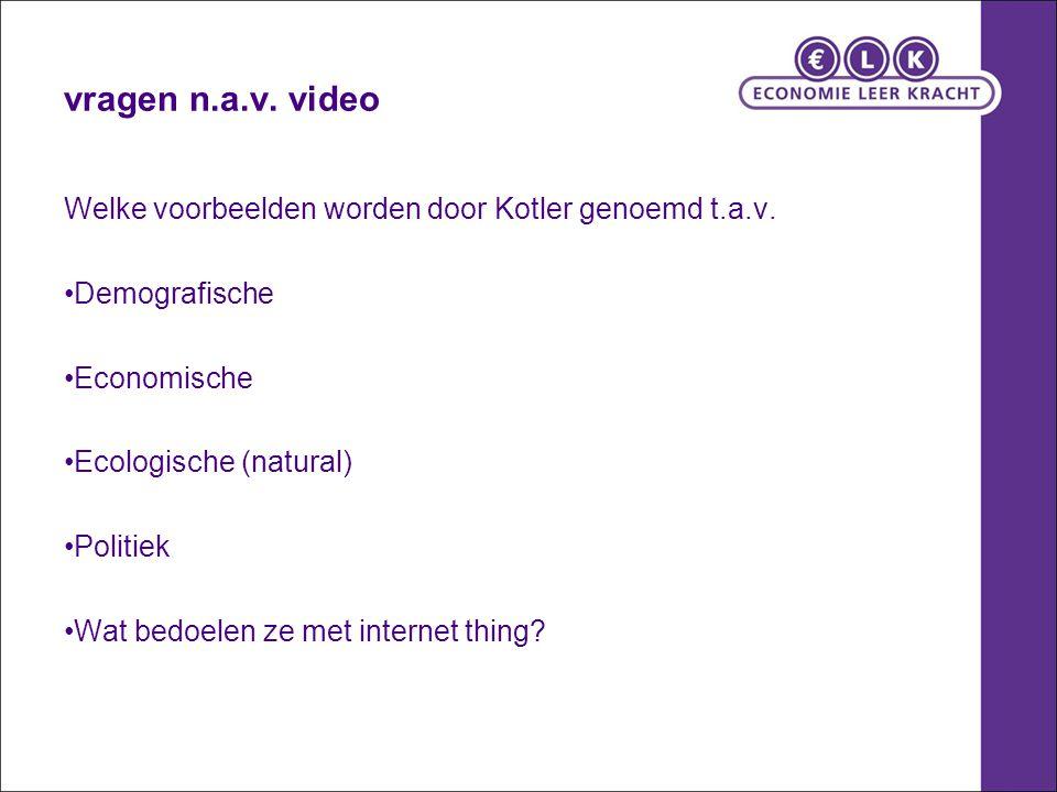 vragen n.a.v. video Welke voorbeelden worden door Kotler genoemd t.a.v. Demografische Economische Ecologische (natural) Politiek Wat bedoelen ze met i