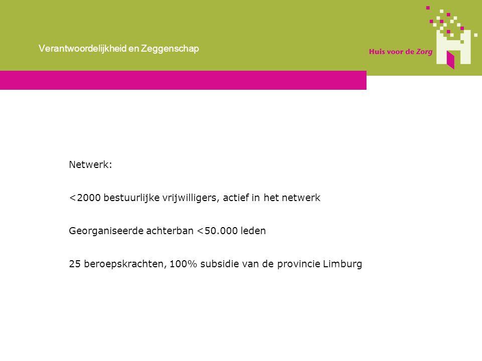 Netwerk: <2000 bestuurlijke vrijwilligers, actief in het netwerk Georganiseerde achterban <50.000 leden 25 beroepskrachten, 100% subsidie van de provincie Limburg Verantwoordelijkheid en Zeggenschap