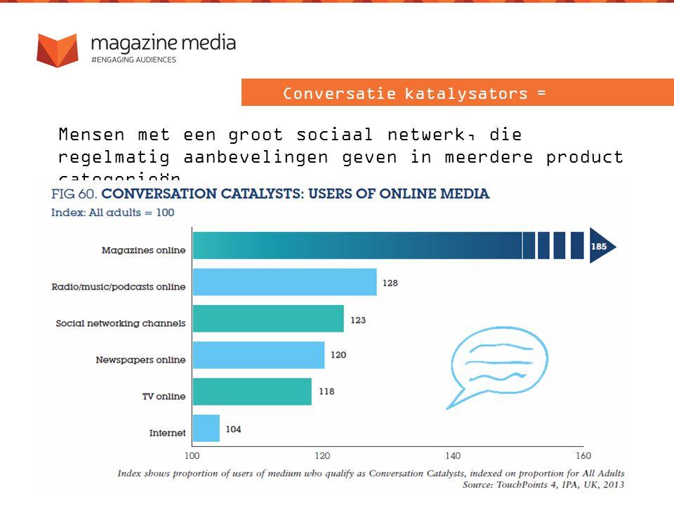 Mensen met een groot sociaal netwerk, die regelmatig aanbevelingen geven in meerdere product categorieën Conversatie katalysators =