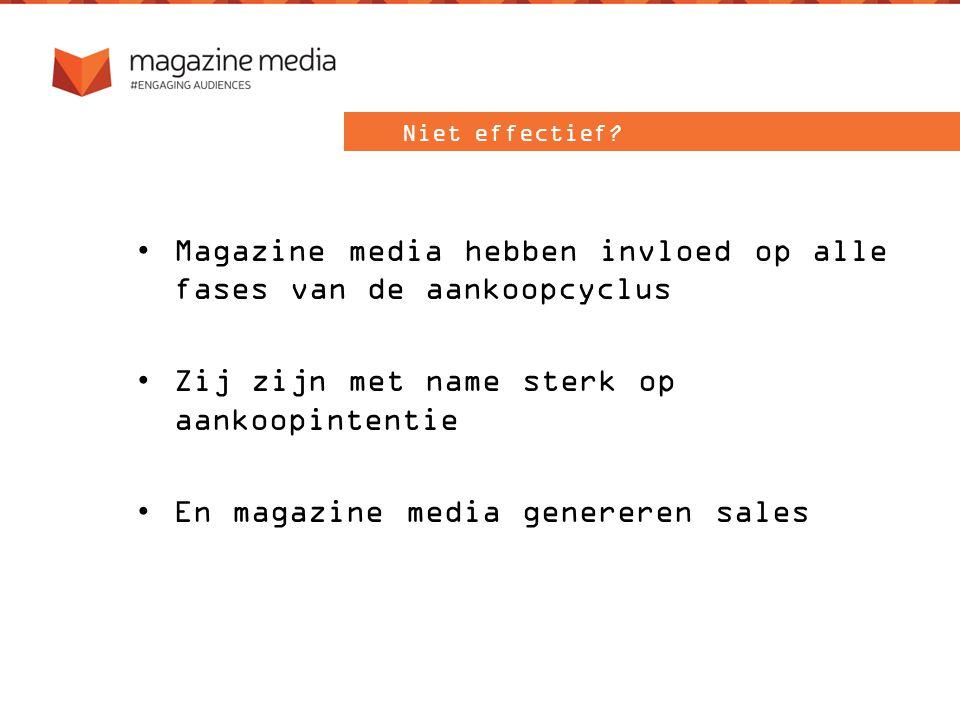 Magazine media hebben invloed op alle fases van de aankoopcyclus Zij zijn met name sterk op aankoopintentie En magazine media genereren sales Niet effectief