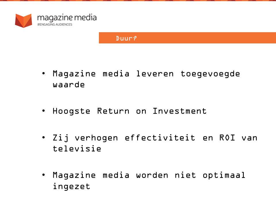 Magazine media leveren toegevoegde waarde Hoogste Return on Investment Zij verhogen effectiviteit en ROI van televisie Magazine media worden niet optimaal ingezet Duur