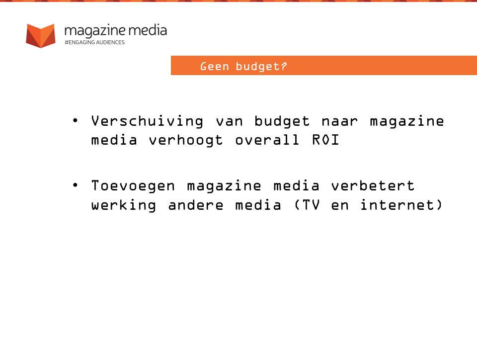 Verschuiving van budget naar magazine media verhoogt overall ROI Toevoegen magazine media verbetert werking andere media (TV en internet) Geen budget