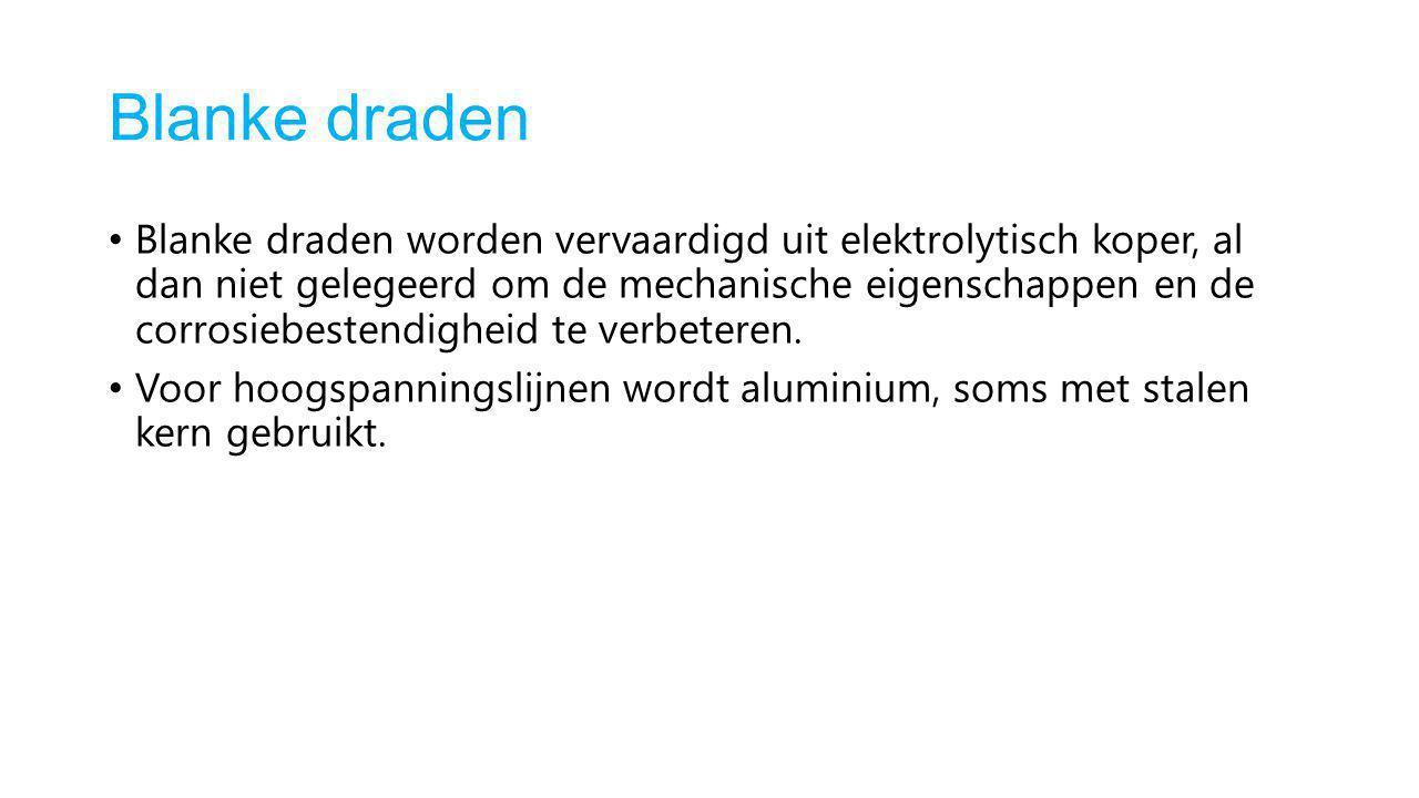 Blanke draden Blanke draden worden vervaardigd uit elektrolytisch koper, al dan niet gelegeerd om de mechanische eigenschappen en de corrosiebestendig