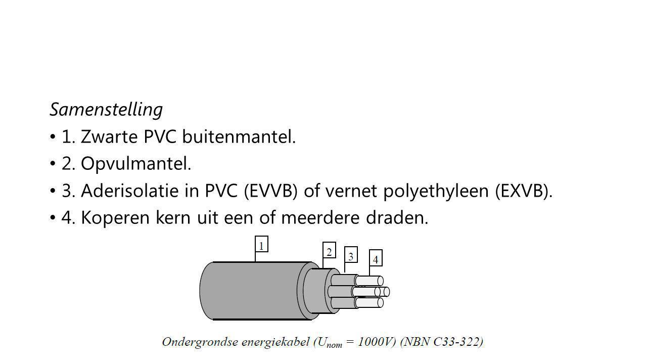 Samenstelling 1. Zwarte PVC buitenmantel. 2. Opvulmantel. 3. Aderisolatie in PVC (EVVB) of vernet polyethyleen (EXVB). 4. Koperen kern uit een of meer