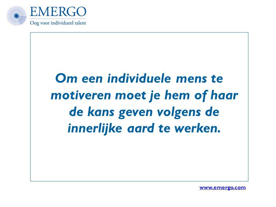 Om een individuele mens te motiveren moet je hem of haar de kans geven volgens de innerlijke aard te werken. www.emergo.com