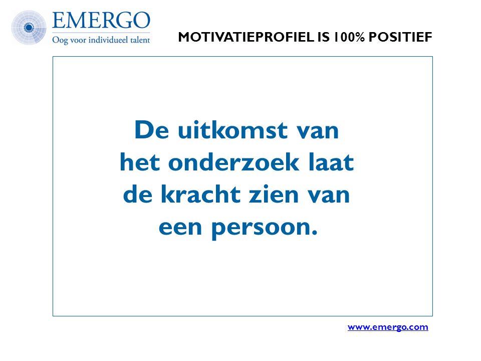 MOTIVATIEPROFIEL IS 100% POSITIEF De uitkomst van het onderzoek laat de kracht zien van een persoon. www.emergo.com