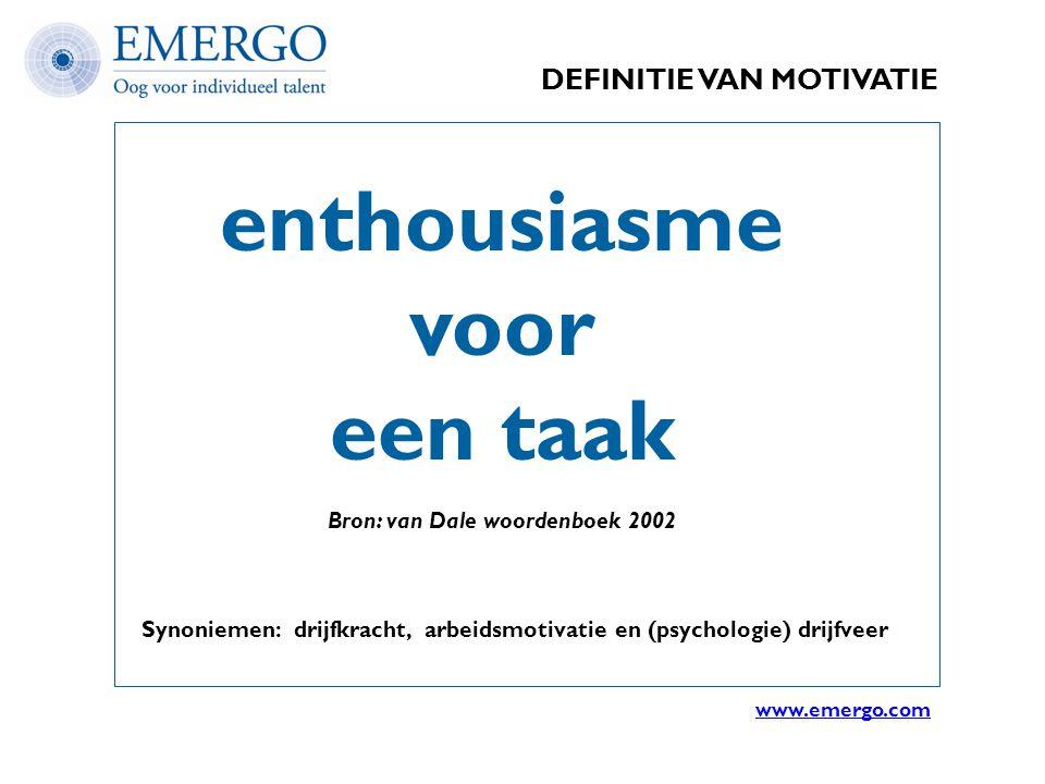 DEFINITIE VAN MOTIVATIE enthousiasme voor een taak Bron: van Dale woordenboek 2002 Synoniemen: drijfkracht, arbeidsmotivatie en (psychologie) drijfvee