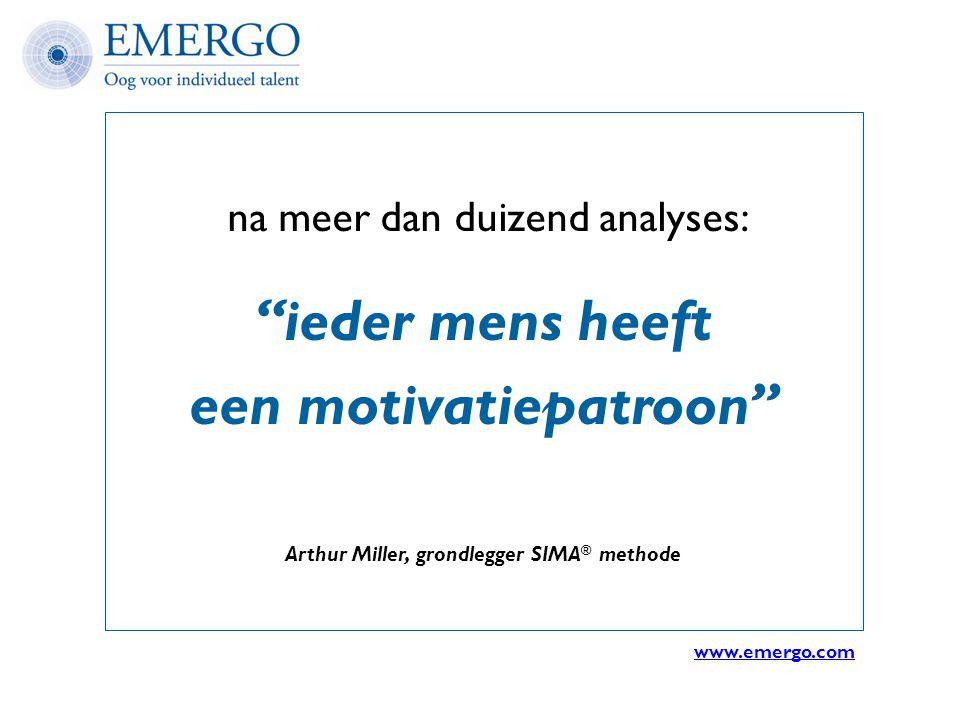 """na meer dan duizend analyses: """"ieder mens heeft een motivatiepatroon"""" Arthur Miller, grondlegger SIMA ® methode www.emergo.com"""