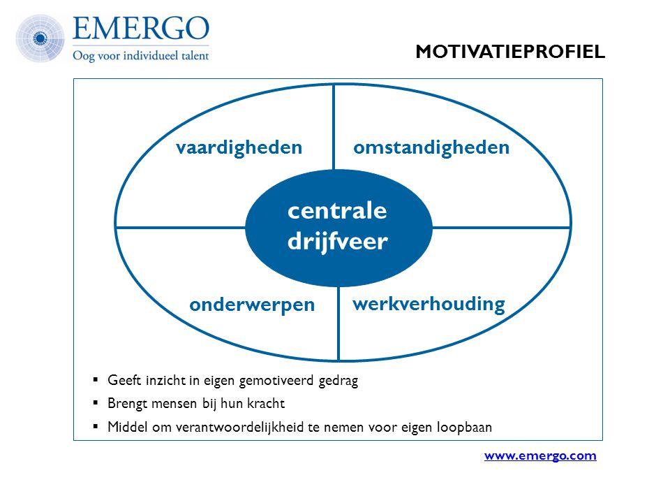 MOTIVATIEPROFIEL vaardighedenomstandigheden onderwerpen werkverhouding centrale drijfveer  Geeft inzicht in eigen gemotiveerd gedrag  Brengt mensen
