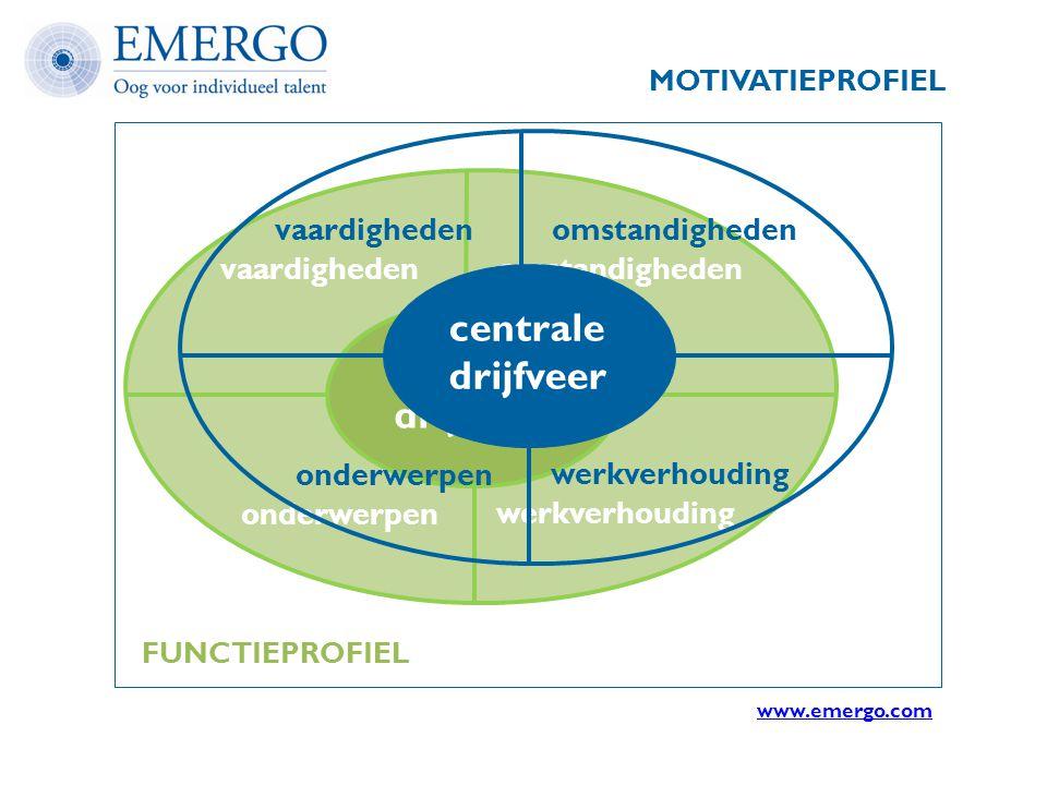 vaardighedenomstandigheden onderwerpen werkverhouding centrale drijfveer MOTIVATIEPROFIEL vaardighedenomstandigheden onderwerpen werkverhouding centra