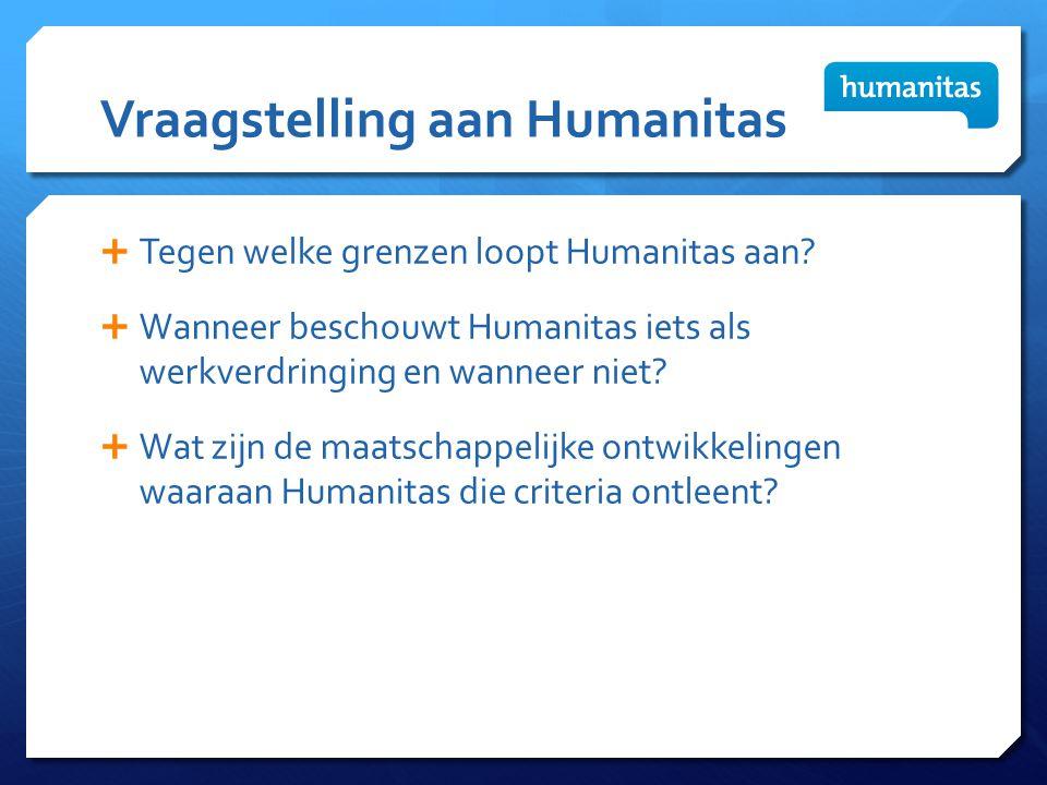 Vraagstelling aan Humanitas  Tegen welke grenzen loopt Humanitas aan?  Wanneer beschouwt Humanitas iets als werkverdringing en wanneer niet?  Wat z