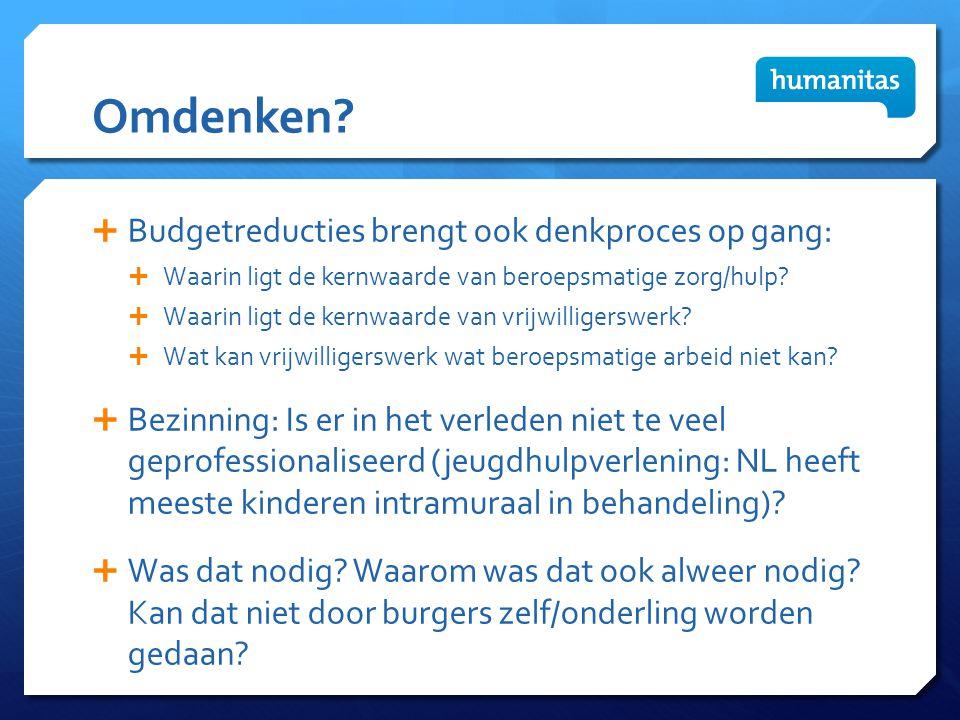 Omdenken?  Budgetreducties brengt ook denkproces op gang:  Waarin ligt de kernwaarde van beroepsmatige zorg/hulp?  Waarin ligt de kernwaarde van vr
