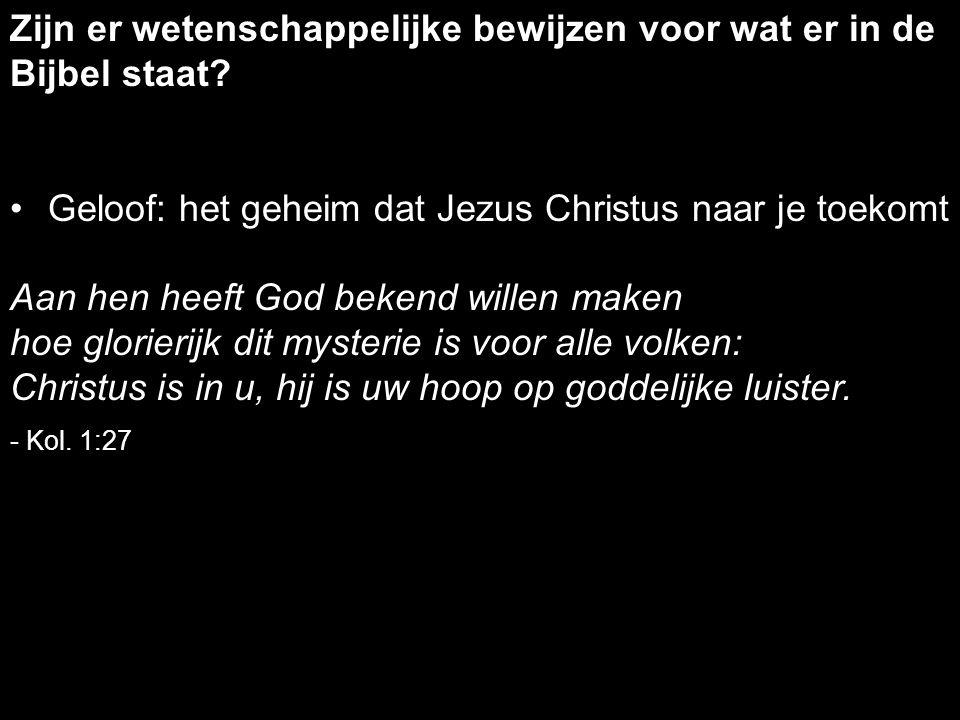 Geloof: het geheim dat Jezus Christus naar je toekomt Aan hen heeft God bekend willen maken hoe glorierijk dit mysterie is voor alle volken: Christus