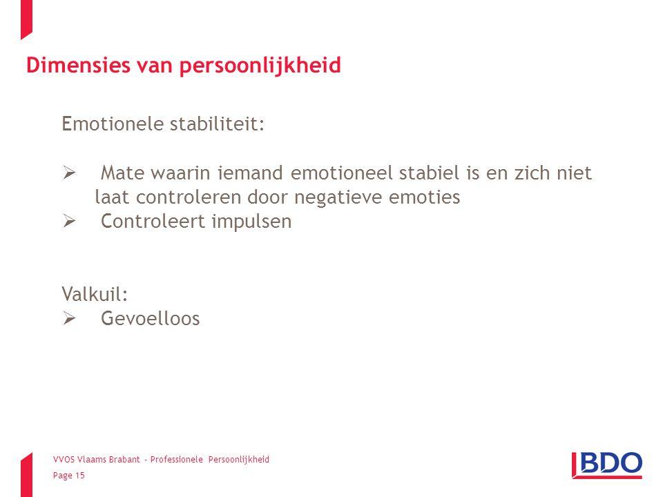 VVOS Vlaams Brabant - Professionele Persoonlijkheid Page 15 Emotionele stabiliteit:  Mate waarin iemand emotioneel stabiel is en zich niet laat contr