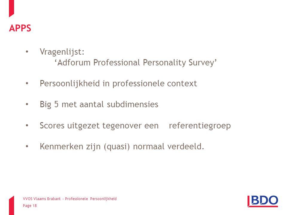 VVOS Vlaams Brabant - Professionele Persoonlijkheid Page 18 Vragenlijst: 'Adforum Professional Personality Survey' Persoonlijkheid in professionele co