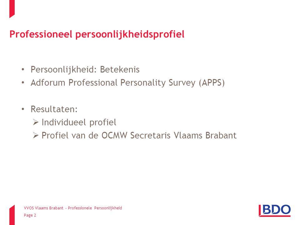 VVOS Vlaams Brabant - Professionele Persoonlijkheid Page 23 Resultaten Hoe ziet het gemiddelde profiel van de OCMW Secretaris uit Vlaams Brabant er uit?