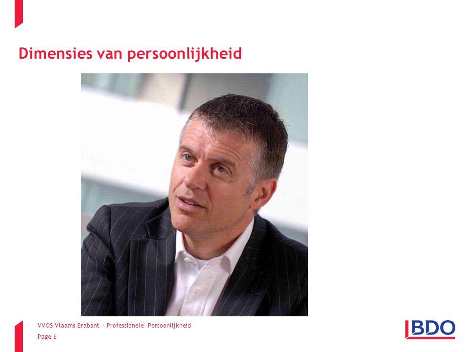 VVOS Vlaams Brabant - Professionele Persoonlijkheid Page 7 Openheid:  Mate waarin iemand openstaat voor nieuwe ideeën en ervaringen.