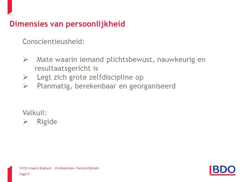 VVOS Vlaams Brabant - Professionele Persoonlijkheid Page 9 Conscientieusheid:  Mate waarin iemand plichtsbewust, nauwkeurig en resultaatsgericht is 