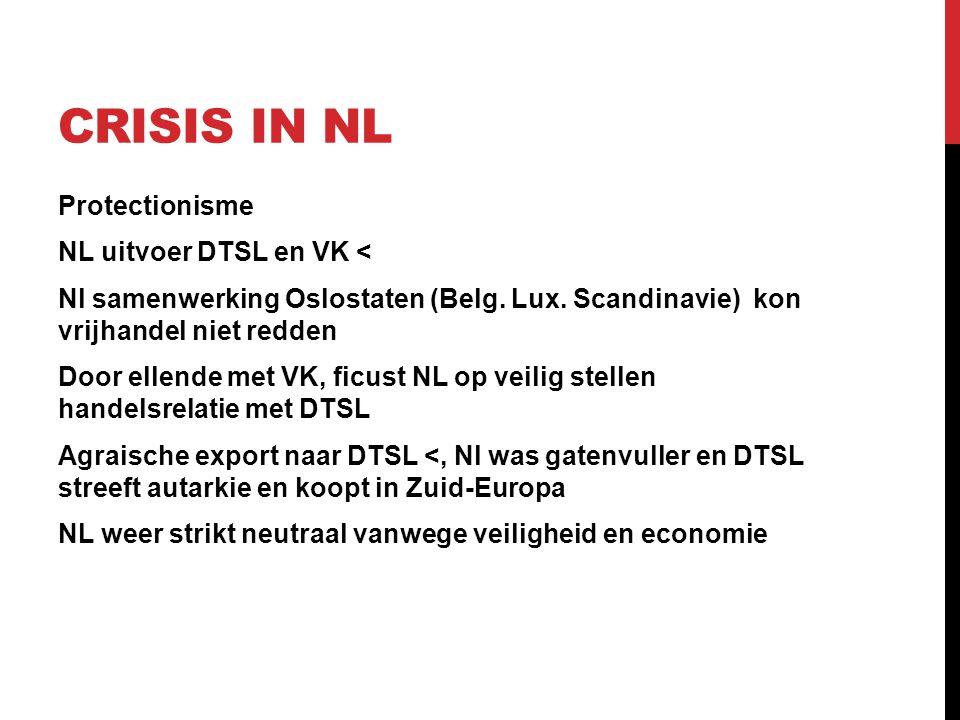 CRISIS IN NL Protectionisme NL uitvoer DTSL en VK < Nl samenwerking Oslostaten (Belg. Lux. Scandinavie) kon vrijhandel niet redden Door ellende met VK