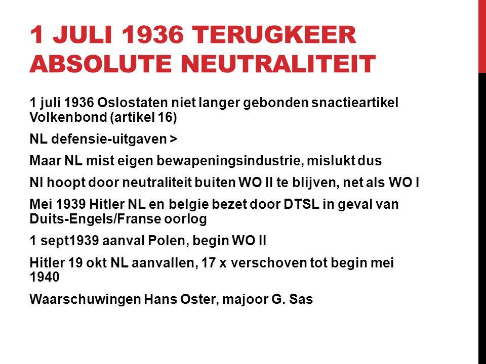 1 JULI 1936 TERUGKEER ABSOLUTE NEUTRALITEIT 1 juli 1936 Oslostaten niet langer gebonden snactieartikel Volkenbond (artikel 16) NL defensie-uitgaven >